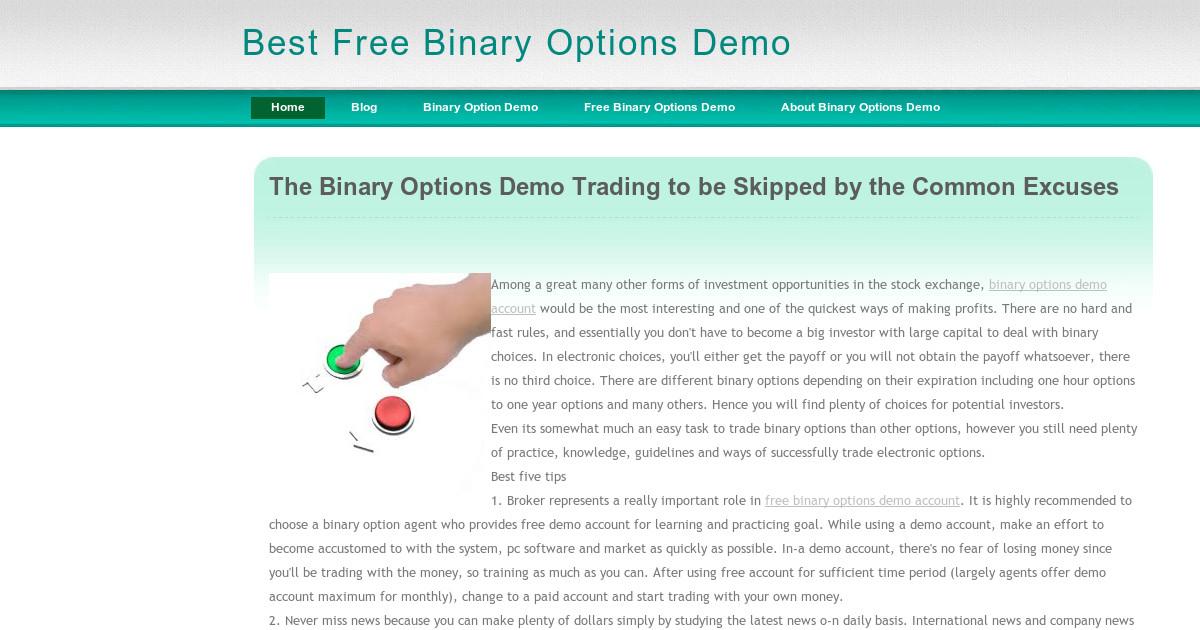 Practice binary options account